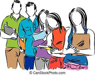 studenci, grupa, ilustracja