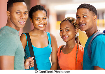 studenci, grupa, kolegium, afrykanin