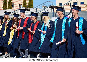 studenci, grupa, młody, absolwenci