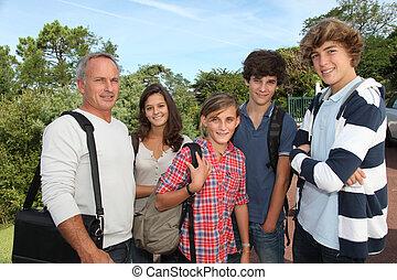 studenci, grupa, nauczyciel