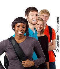 studenci, grupa, rozmaity, kolegium