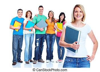 studenci, grupa, teens.