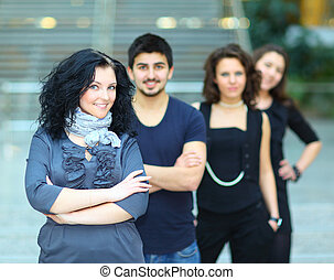 studenci, grupa, uśmiechanie się, kolegium