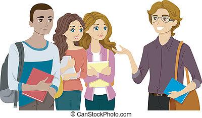 studenci, ich, profesor, spotkanie