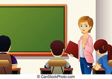 studenci, klasa, nauczyciel