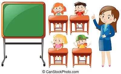 studenci, klasa nauczyciel