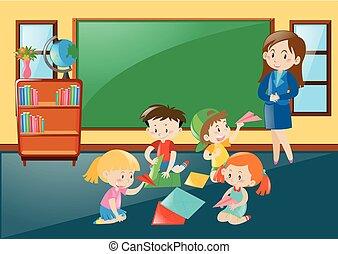 studenci, klasa, składany, papercraft