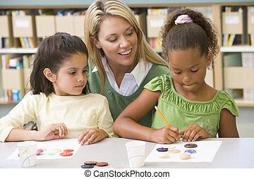 studenci, klasa, sztuka, dwa, nauczyciel