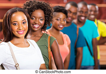 studenci, kolegium, amerykanka, grupa, afro