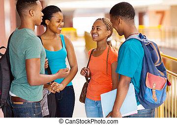studenci, kolegium, amerykanka, grupa, afrykanin
