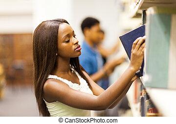 studenci, kolegium, grupa, biblioteka, afrykanin
