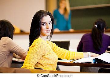 studenci, kolegium, grupa, hala, wykład