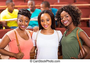 studenci, kolegium, grupa, samiczy afrykanin