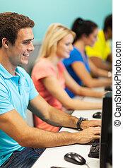 studenci, kolegium, komputery, grupa, używając