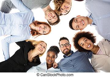 studenci, kolegium, nagromadzić, grupa, formując