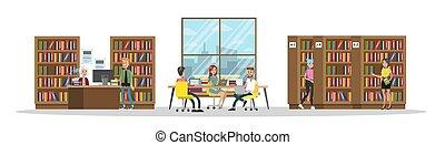 studenci, komplecik, biblioteka