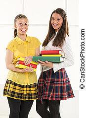 studenci, książki, samica, szczęśliwy