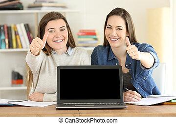 studenci, laptop, dwa, okienko osłaniają, pokaz