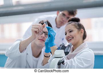 studenci, medyczny, grupa, młody, praca badawcza