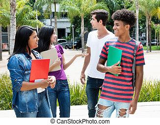 studenci, międzynarodowy, goup, mówiąc