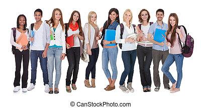 studenci, multi, grupa, rasowy