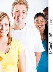 studenci, multicultural, kolegium, grupa