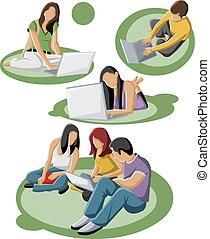 studenci, nastolatek, grupa