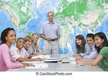 studenci, odpowiadając, klasa, pytania, geografia