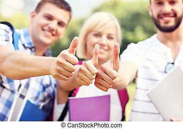 studenci, ok, pokaz, grupa, znaki