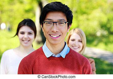 studenci, park, grupa, radosny