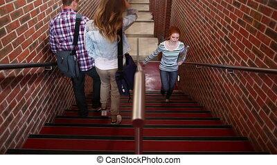 studenci, pieszy, schodki na dół, do góry