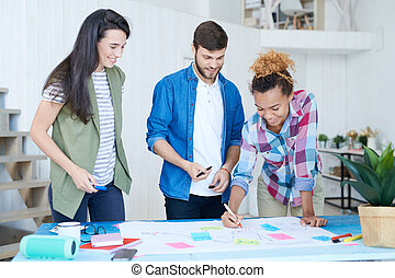 studenci, plan planistyczny, grupa, multi-ethnic
