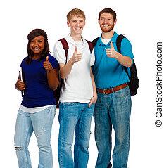 studenci, pokaz, do góry, młody, kolegium, trzy, znak, kciuki