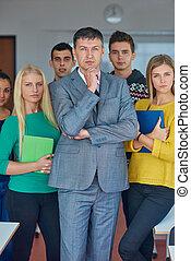 studenci, portret, grupa, nauczyciel