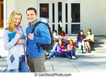 studenci, przód, grupa, dwa