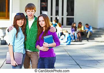 studenci, przód, grupa, trzy