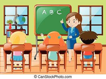 studenci, przedszkole, klasa nauczyciel, nauczanie