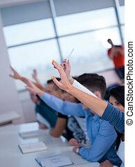 studenci, siła robocza, grupa, do góry, gromadzić