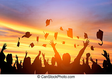 studenci, skala, powietrze, wyrzucanie, czapki, szczęśliwy