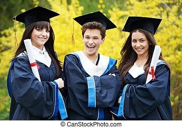 studenci, skala, szczęśliwy