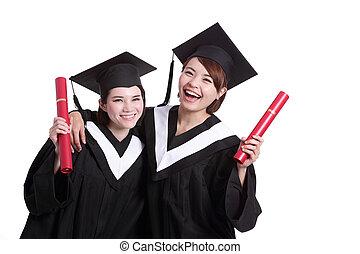 studenci, szczęśliwy, absolwenci