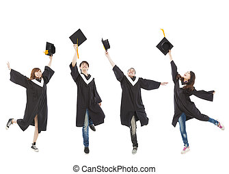 studenci, szczęśliwy, grupa, młody, absolwent