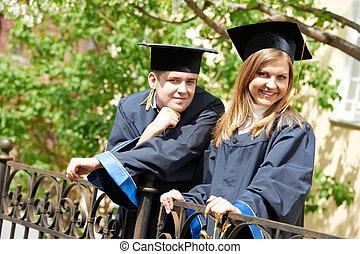 studenci, szczęśliwy, outdoors, absolwent