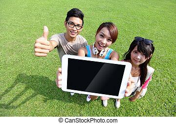 studenci, szczęśliwy, palcowa pastylka, pokaz