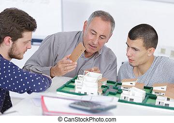 studenci, szkoła, architektura, nauczyciel