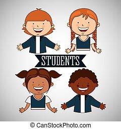 studenci, szkoła, projektować, wstecz
