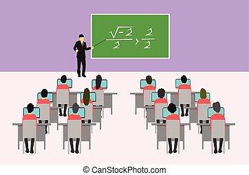 studenci, tablica, punkty, uczyć, męski nauczyciel, classroom.