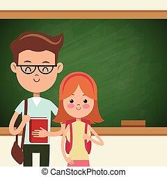 studenci, tablica, szkoła, para, wstecz