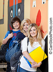 studenci, teenage, grupa, młody