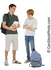 studenci, teenage, książki, plecak